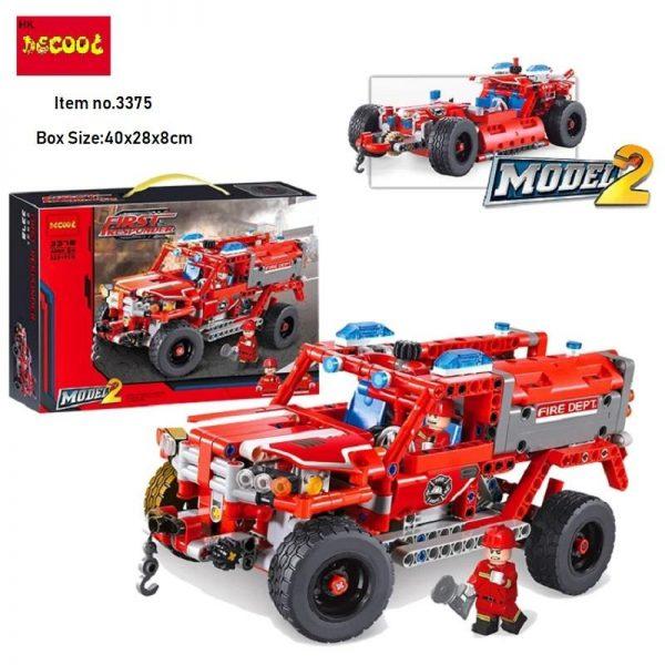 2Model Decool city 3375 523pcs firman rescue vehicle 911 Fire engine car firefighter building blocks bricks - DECOOL