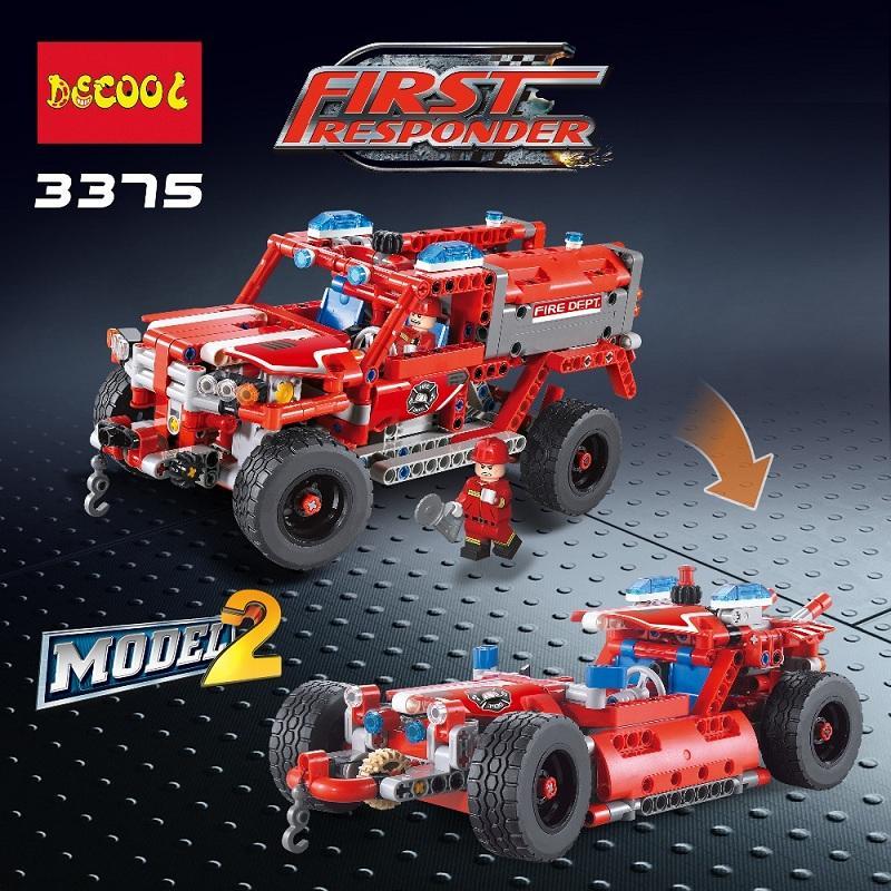 2Model Decool city 3375 523pcs firman rescue vehicle 911 Fire engine car firefighter building blocks bricks 3 - DECOOL