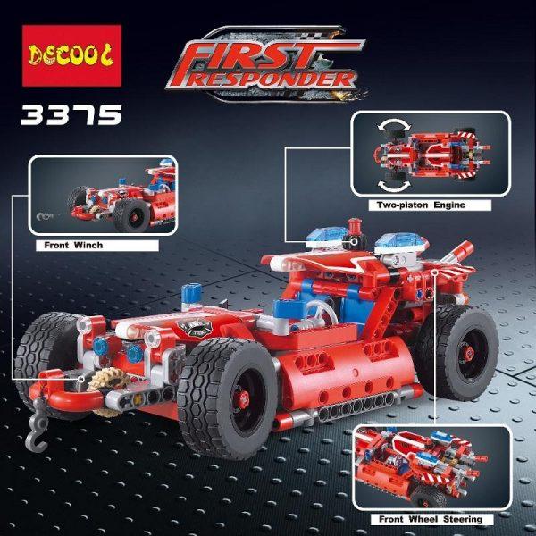 2Model Decool city 3375 523pcs firman rescue vehicle 911 Fire engine car firefighter building blocks bricks 4 - DECOOL