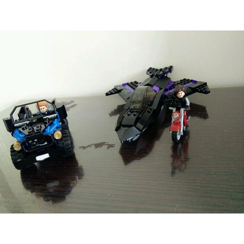 7122 Batman Chariot Super Heroes Black Panther Pursuit Superman Model Building Blocks Figure Toys For Children - DECOOL