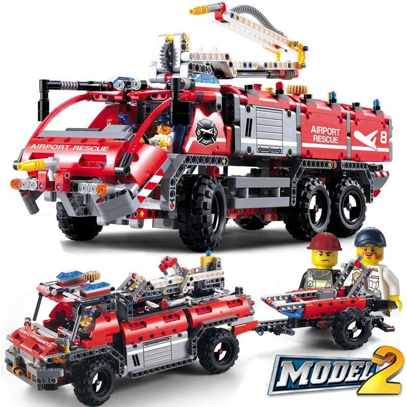 Decool 3371 1110pcs Airport rescue vehicle model 2 Legoings 3D DIY Figures toys for children educational 2 - DECOOL