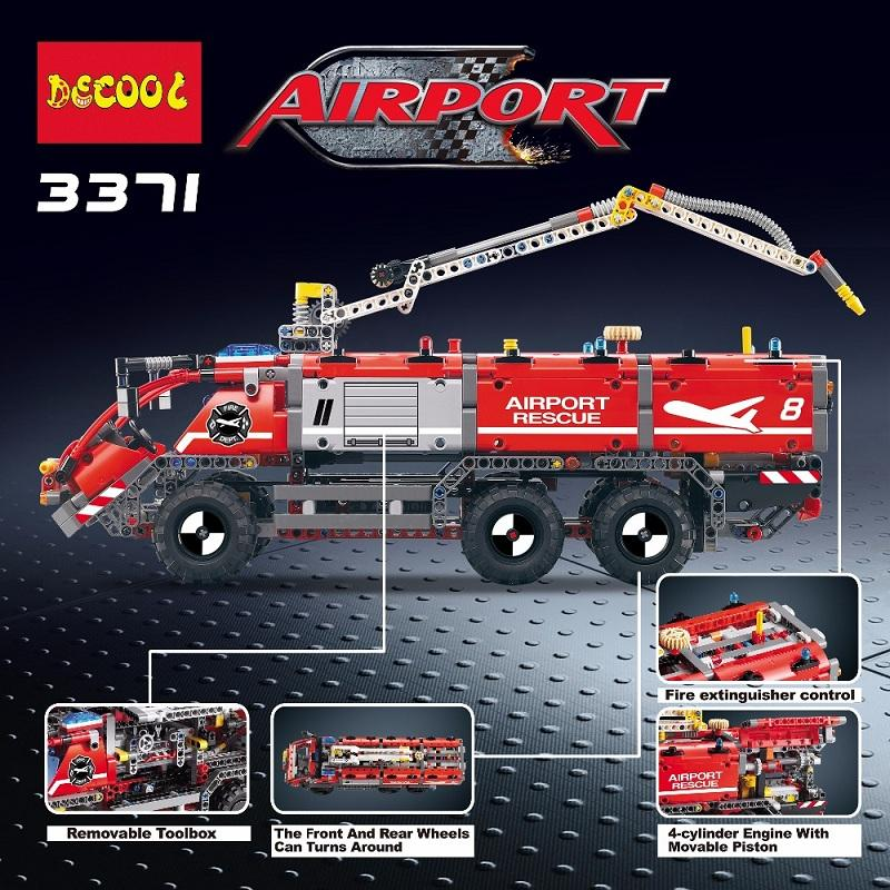Decool 3371 1110pcs Airport rescue vehicle model 2 Legoings 3D DIY Figures toys for children educational 3 - DECOOL
