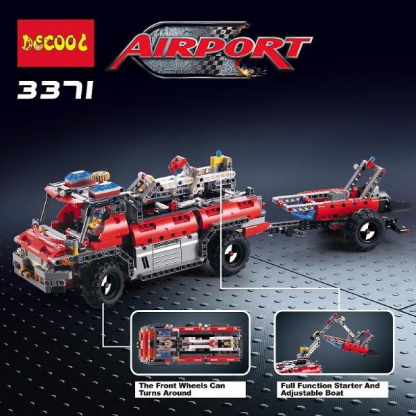 Decool 3371 1110pcs Airport rescue vehicle model 2 Legoings 3D DIY Figures toys for children educational 4 - DECOOL