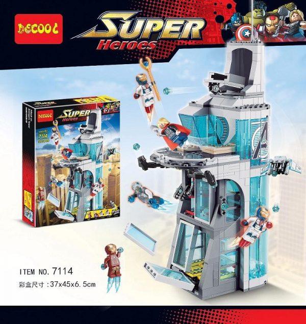 Decool 511pcs Marvel Superheroes Iron Man Base Attack Avengers Tower buster Building Blocks Bricks Toys for - DECOOL