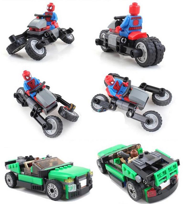 Decool 7104 Marvel Super Heroes Spider Man Spider Cycle Chase DIY building block set Nick Fury - DECOOL