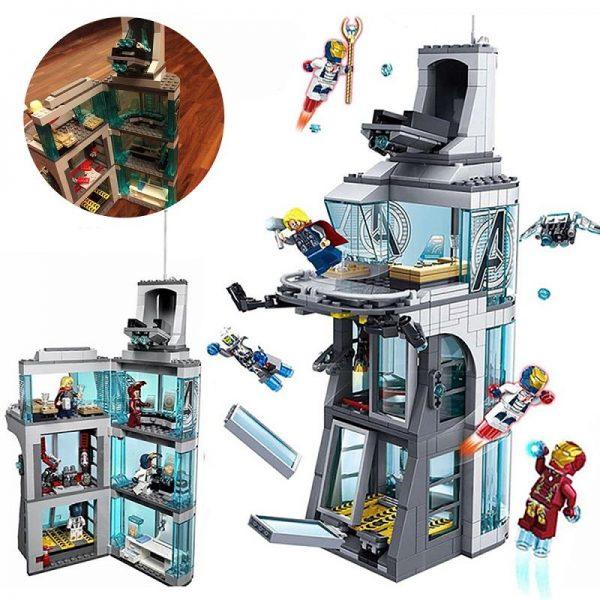 Decool compatible legoed Marvel Attack The Avengers Tower building blocks children assemble toys figures Iron Spide - DECOOL