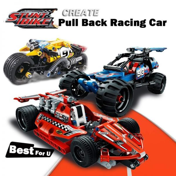 Decool legoings Pull Back Technic Car Racer MOC Truck DIY building blocks kids toys for children 1 - DECOOL