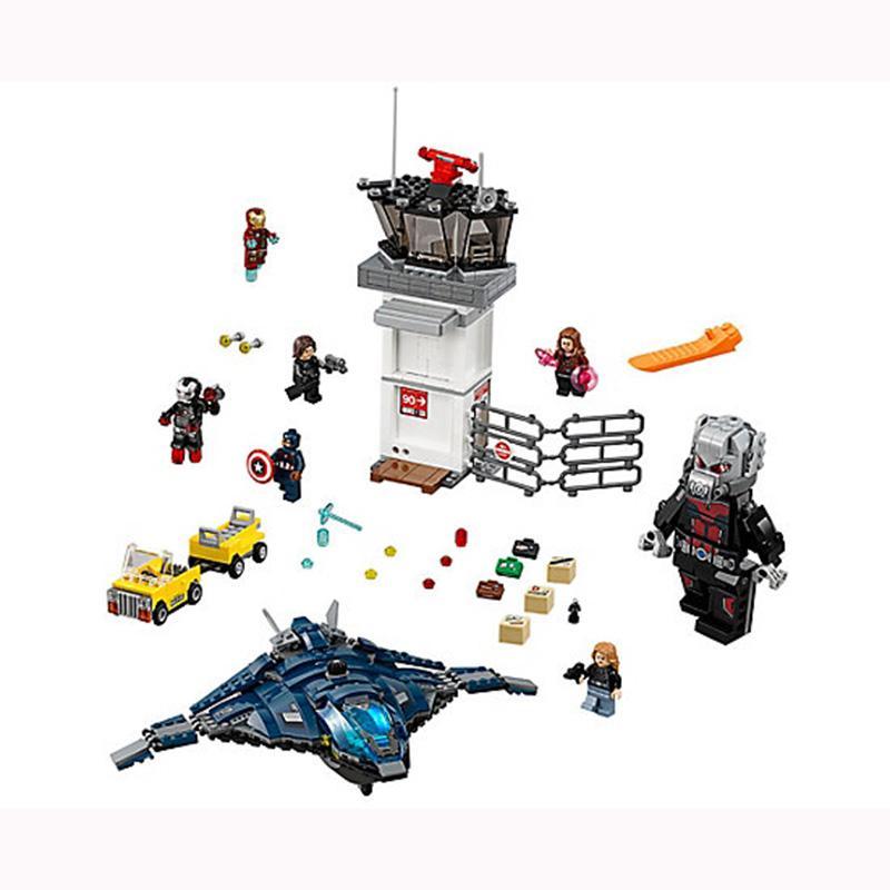 Marvel Super Hero Avengers Airport Battle Iron Man Giant Man Scarlet Witch Agent sim76051 kids gift 3 - DECOOL