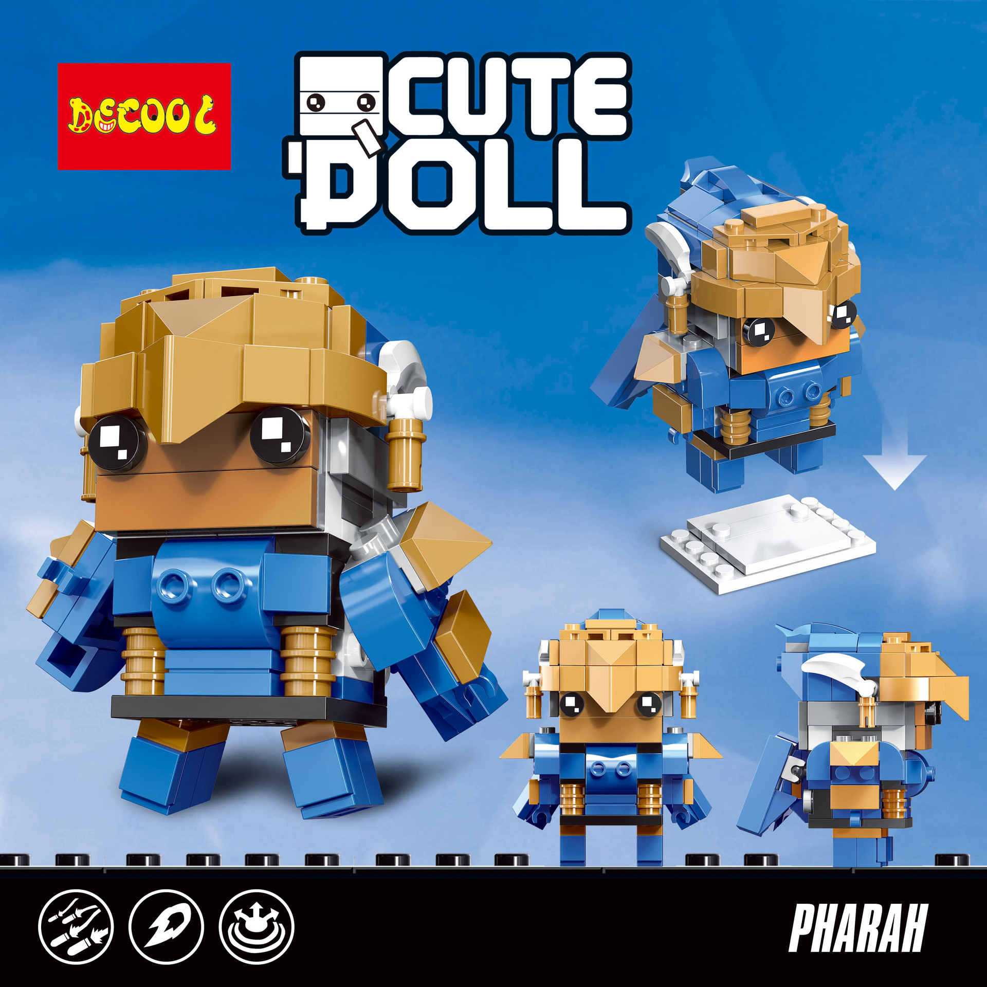 DECOOL 6849 Overwatch square head boy: Pharaoh's Eagle Emalie CuteDoll: PHARAH