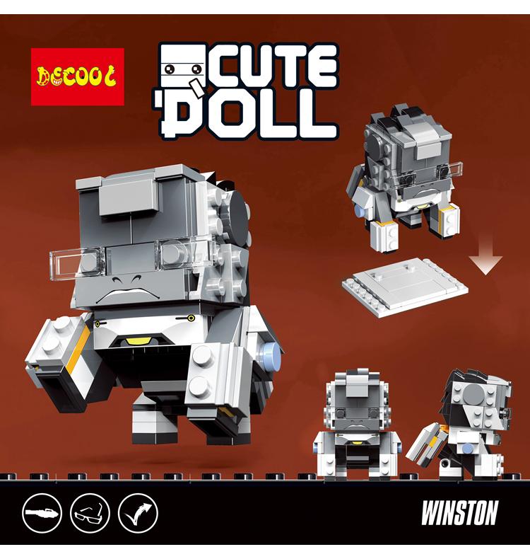 DECOOL 6857 Overwatch square head boy: Winston CuteDoll: Winston Movie Series