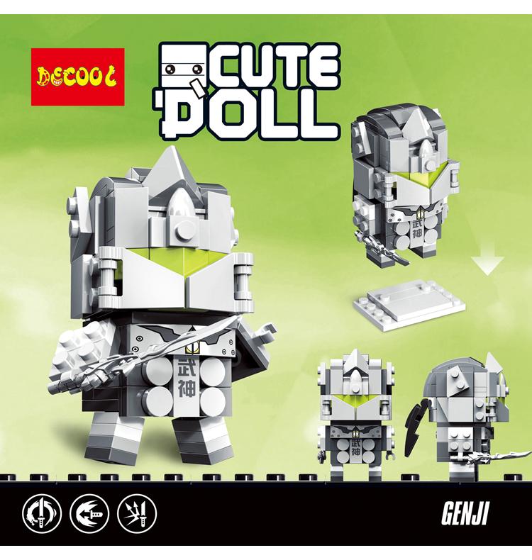 DECOOL 6858 Overwatch square head boy: Genji CuteDoll: Genji Movie Series